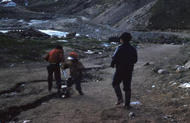Photograph of three children playing in Apex, Northwest Territories