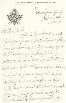 Letter from Weldon Morash to his sister Gertrude dated 23 July 1918