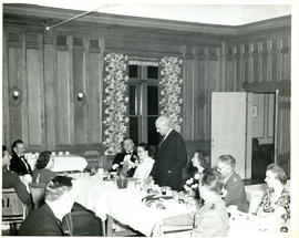 Photograph of Thomas Head Raddall at a dinner in his honour in the Officers' Mess at Camp Aldershot