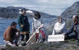 Photograph of Barbara Hinds and four other people with a kettle outdoors in Frobisher Bay, Northw...
