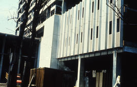 Photograph of construction of Tupper Building, nearing completion