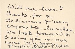 Note from Phyllis Duke-Elder to Ellen Ballon