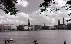 Photograph of Binnenalster (Inner Alster Lake) with the city towers