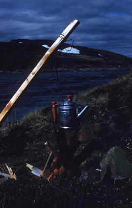 Photograph of a kettle outdoors near Frobisher Bay, Northwest Territories
