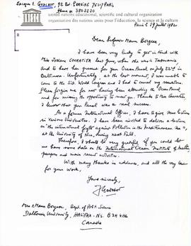 Correspondence with Jacques E. Godchot of United Nations Educational, Scientific and Cultural Org...