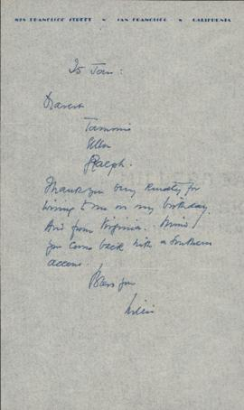 Letter from William Somerset Maugham to Ellen Ballon, Sally Ryan, and Ryan Gustafson