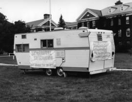 Photograph of intramural information site at orientation week
