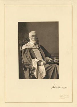 Portrait of Dr. John Stewart in academic dress