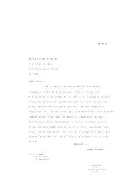 Correspondence between Garry Conway and Roger Savage