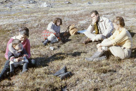 Photograph of a group of people having a picnic at Tellik Inlet, Northwest Territories