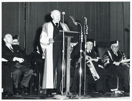 Photograph of unidentified man making a speech