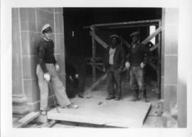 Photograph of workmen at the Arts & Administration Building construction site