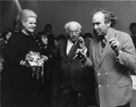 Photograph of Maureen Forrester, Henry Hicks and Ernest Smith at Dalhousie Art Gallery reception