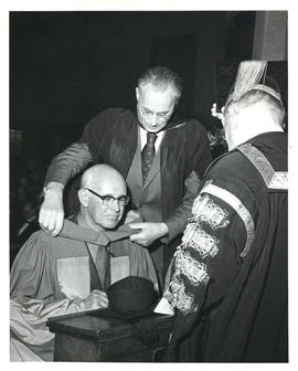 Photograph of Thomas Head Raddall receiving an honorary Doctorate of Civil Law at the University ...
