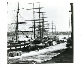 Photograph of three ships docked at Circular Quay in Sydney, Australia