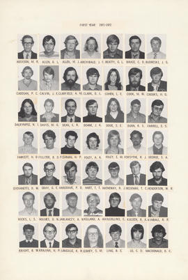 Composite photograph of the Faculty of Medicine - First Year Class, 1971-1972 (Addison to MacDonald)