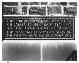 Photograph of the Sir James Dunn Science Building cornerstone
