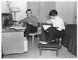 Photograph of two students in the men's residence