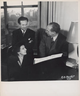 Photograph of Ellen Ballon with Antal Dorati and Aaron Copland