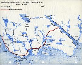 Map of Goldboro and New Harbour Mutual Telephone Company's telephone line