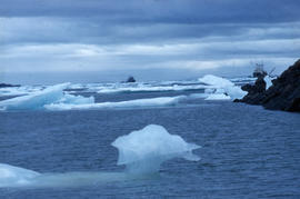 Photograph of ice floes and two ships in Frobisher Bay, Northwest Territories