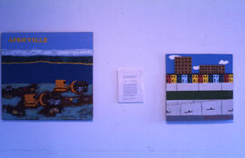 Photograph of paintings on display during the Satire as Discontent exhibition