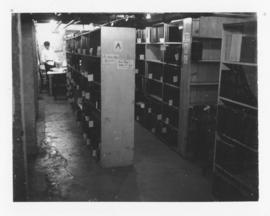 Photograph of the journal stacks in the basement of the Medical-Dental Library