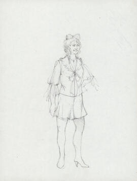 Costume design for woman with bow