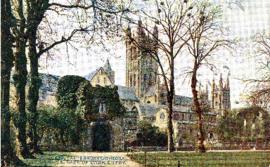 Photograph of Canterbury Cathedral and the Gate of Dark Entry in Canterbury, England printed on a...