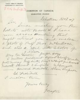 Letter from James Baxter about a photograph