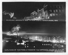 Photograph of Dalhousie University and the explosion of munitions at a magazine