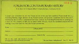 "Correspondence with the ""Forum for Contemporary History"""
