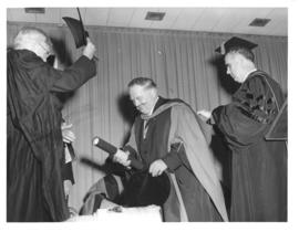 Photograph of Sir Edward Appleton and two other men in academic dress