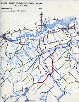 Map of Black River Mutual Telephone Company's telephone line