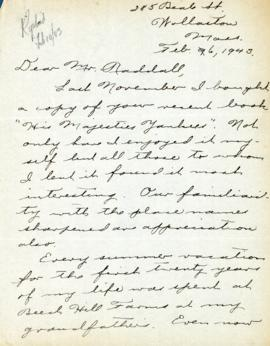 Correspondence between Thomas Head Raddall and Marion M. Payzant