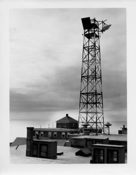 Photograph of the tower on the Island Telephone Company's central office, taken from the roof