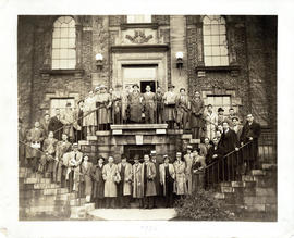 Photograph of group in front of the Public Health Clinic