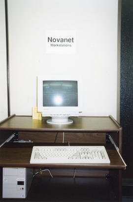 Photograph of a Novanet Workstation at the Killam Memorial Library, Dalhousie University