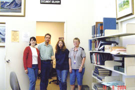 Photograph of Kellogg Library document delivery staff members