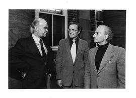 Photograph of David Braybrooke, Marcel Malherbe, and Paul Chancy