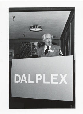 Photograph of Henry Hicks speaking at the Dalplex Campaign kick-off reception