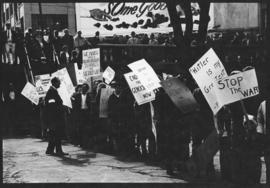 Photograph of marchers assembling in Halifax's Grand Parade prior to an anti-Vietnam War demonstr...