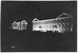 Photograph of the Macdonald Library and Science Building at night