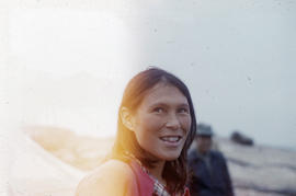Photograph of an unidentified smiling woman in George River, Quebec