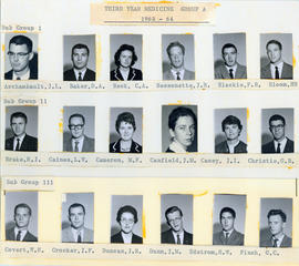 Photograph of Third Year Medical Students Group A : Class of 1963-1964