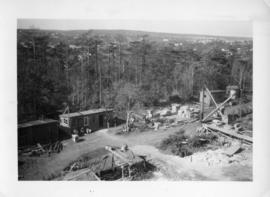Photograph of sheds and equipment at the Arts & Administration Building construction site