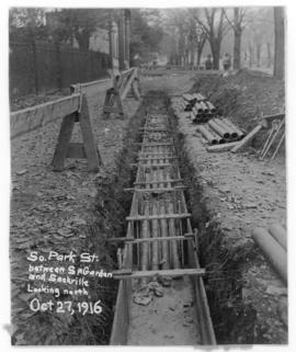 Photograph of construction on South Park street between Spring Garden and Sackville street lookin...