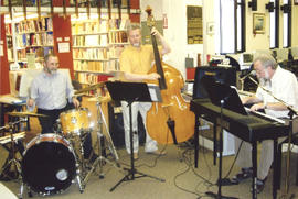 Photograph of the JP Ellis Trio at Betty Sutherland's retirement party