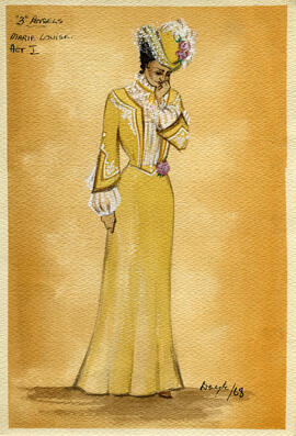 Watercolour costume design featuring a woman in Edwardian dress