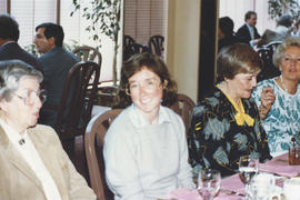 Photograph of Tony Engels, Gail Fraser, Anita Watson, and Helen Branny at Helen's Kellogg retirem...